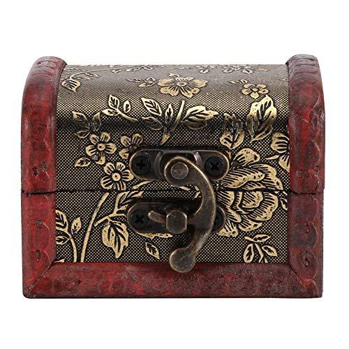 Houten kist in de Europese stijl Vendimia, handgemaakte kleine houten kist met oude mode, met mini-slot van metaal voor het opbergen van sieraden Treasure Pearl