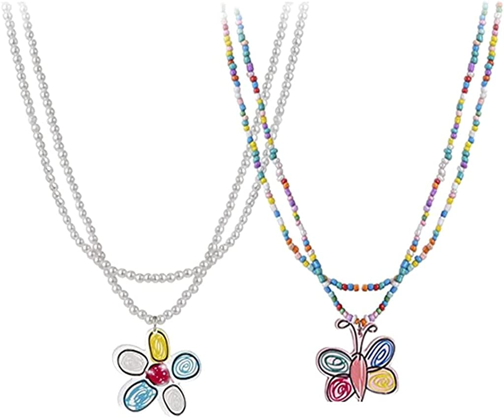 Bohemian Beaded Choker Necklaces Cute Flower Butterfly Layered Necklace Trendy Beach Vacation Jewelry Friendship BFF Gift for Women Girls