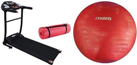 فتنس وورلد جهاز سير كهربائي مع كرة اليوجا فتنس وورلد احمر 75 سم مع بساط تمرينات اليوغا