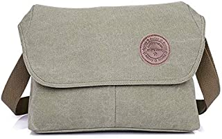 DIEBELLAU Men's Simple Business Casual Bag Fashion Canvas Men's Bag Shoulder Messenger Bag Canvas Bag (Color : Army Green)