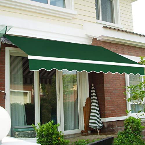 CASART 3x2.5M Manual Awning Retractable Canopy Sun Shade Shelter Waterproof Garden Patio Outdoor (Green)
