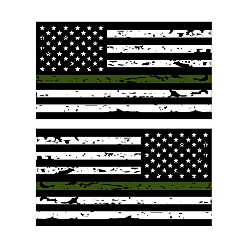 K9King Thin Green Line Reflective Tattered US Flag Stickers (2) Standard and Reverse. 3M Outdoor Reflective Military and Federal Decal