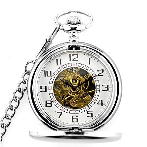 Yunfeng Mechanische Taschenuhr Zweiseitige Flip-Flops Retro Zifferblatt Lupe Skelett mechanische römisch Pocket Watch mit Kette