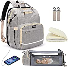 Diaper Bag Backpack with Changing Station, 57L Elegant Mummy Travel Bag for Baby Girl Boy, Portable Foldable Baby Crib Nappy Changing Bags for Dad Mom