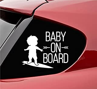 Slap-Art Baby on board with baby on surf board Vinyl Decal Sticker (White)