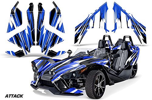 AMR Racing Roadster Graphics kit Sticker Decal Compatible with Polaris Slingshot SL 2015-2016 Vinyl Wrap Full kit - Attack Blue