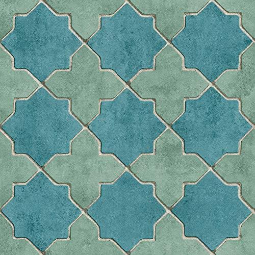 Vliesbehang Tegeltjes behang Tegel behang Blauw Grijs Groen 374214 37421-4 A.S. Création New Walls | Blauw/Grijs/Groen | Rol (10,05 x 0,53 m) = 5,33 m²