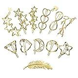 AFASOES 12 Pcs Clips para Cabello Aleación Pinza para Pelo Dorada Horquillas Pelo Metal Triángulo Geométrico Círculo Hoja de Plumas Perlas Luna Estrella para Mujer Niño Vintage Fiesta Boda