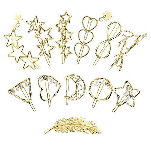 AFASOES 12 Stück Haarspangen Metall Haarschmuck gold Haarnadeln schmuck Haarklammern Set Haar Klammer Clips Haarclips mit Flanelltasche Haar Pin Spangen für Damen Mädchen Dickes Haarstyling