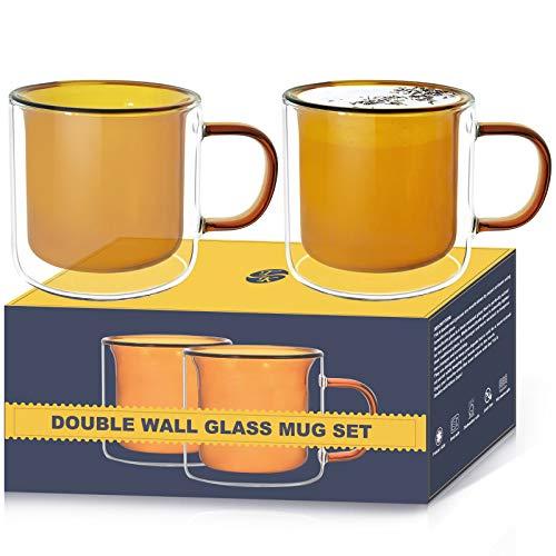 [2-Pack,6.8 Oz] TKS Espresso Cups, Glass Espresso Mugs ,Double Wall Glass Espresso Cups, Tea Cups, Latte Cups, Latte Mug, Coffee Mug for Women Men Gifts