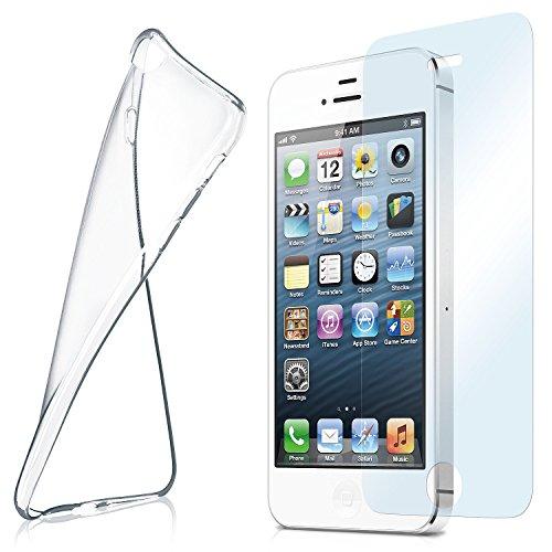 MoEx® Silikon-Hülle für iPhone 4S / iPhone 4 | + Panzerglas Set [360 Grad] Glas Schutz-Folie mit Back-Cover Transparent Handy-Hülle iPhone 4 / iPhone-4S Case Slim Schutzhülle Panzerfolie