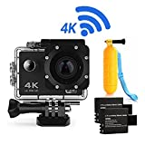 Action Camera 4K16MP WiFi Waterproof Sports Diving Cam DV Camcorder 170 Ultra Wide-Angle Len with Sensor 2 Rechargeable Batteries/Floating Hand Grip and Accessories Kit