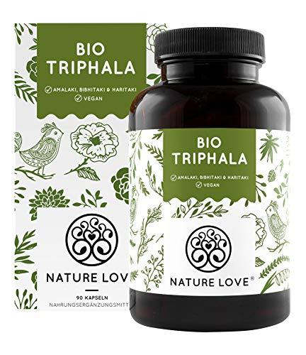 NATURE LOVE® Bio Triphala - Hochdosiert mit 500mg je Kapsel - 180 Kapseln - Hochwertiger Rohstoff aus Indien - Laborgeprüft und zertifiziert Bio, in Deutschland produziert