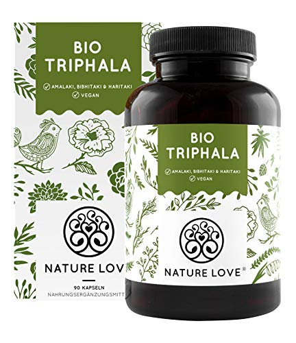 Nature Love® Bio Triphala - Hochdosiert mit 500mg je Kapsel - 180 Kapseln - Premium: Hochwertiger Rohstoff aus Indien - Laborgeprüft und zertifiziert Bio - hergestellt in Deutschland