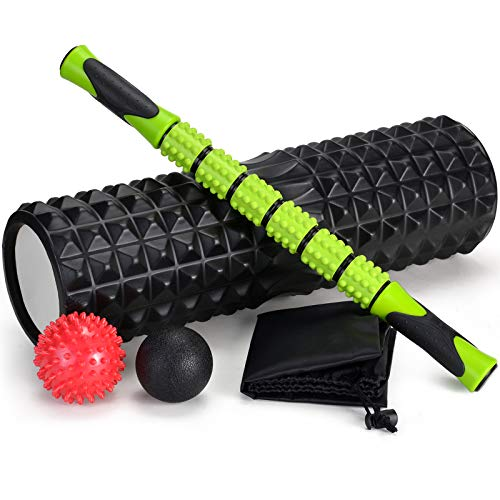 Odoland Foam Roller Kit con Rejilla de Liberación Miofascial, 5-en-1 Kit de Rodillo Masaje Muscular con Rodillos de Espuma, Roller Stick, Bolas Masaje y Spiky Ball