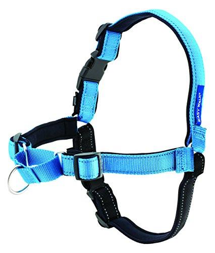 PetSafe - Correa para Perros Easy Walk Deluxe, Reflectante, Resistente, Fácil de Usar, Arnés Antitirones Perros, Arnés de Neopreno para máximo Confort - Azul - M/L