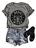 Basic Witch Shirts for Women Funny Graphic T Shirts Summer Casual Mom Vintage Coffee Tee