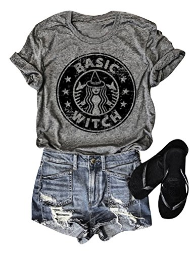 Dresswel Damen T-Shirt Basic Witch Lustiger Halloween Shirt Grafik Print Rundhals Kurzarm Hemd Oberteile Tee Tops (Grey)