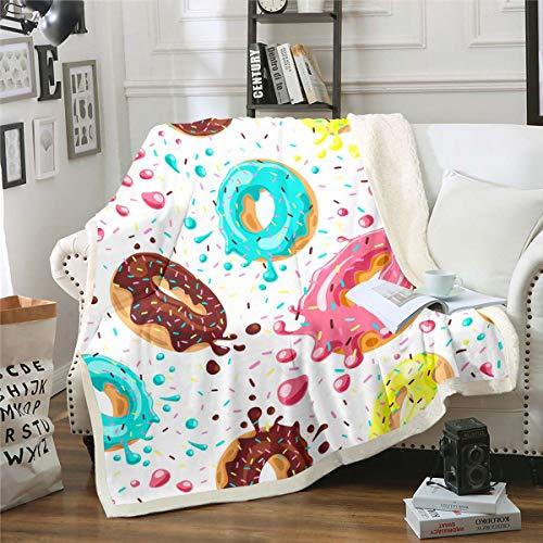 Manta de forro polar para niñas y niños, diseño de donuts de chocolate, color crema, manta de felpa, linda decoración de postre caprichosa para sofá cama, bebé 76 x 100 cm