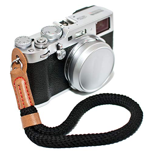 Black Cotton Camera Hand Wrist Strap for Fujifilm X100F X-T20 X-T2 X70 X-Pro2 X-E3 X-E2 X30 XQ2 X100 X100S X100T for Sony A6000 A6300 A6500 A5100 A5000 RXIR II RX10 Cameras Adjustable Safety Strap