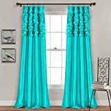 Lush Decor Circle Dream Window Curtains Panel Set for Living, Dining Room, Bedroom (Pair), 84' x 54', Turquoise