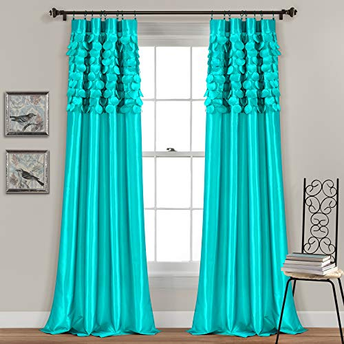 Lush Decor Circle Dream Window Curtains Panel Set for Living, Dining Room, Bedroom (Pair), 84 in x 54 in, Turquoise