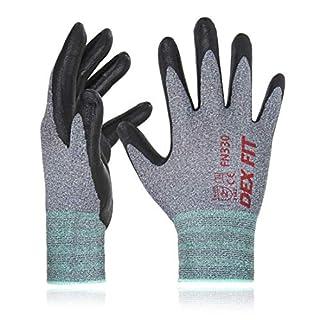 scheda dex fit fn330 guanti da lavoro, fit 3d comodo ed elastico, presa power, smart touch, gomma nitrilica resistente e traspirante, sottili e leggeri, lavabili in lavatrice, grigio taglia 6 (xs) 3 paia