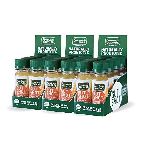 Live Probiotic Ginger Shots, Immunity Boost & Gut Health, Organic & Fermented 24-Pack Turmeric Ginger ACV Shot by Farmhouse Culture