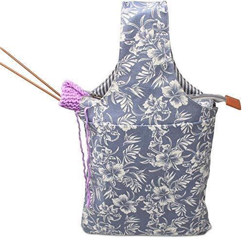 ZWJR Bolsa de Almacenamiento portátil para Crochet de Lana de Ganchillo fácil de Transportar tamaño Tejer sobre la Marcha (sin Accesorios incluidos)-Flores
