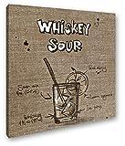 deyoli Recetas para Un Whiskey Sour Efecto: Sepia como Lienzo, diseño Enmarcado en Marco de Madera, impresión Digital Marco, no es un póster o Cartel, 70 x 70