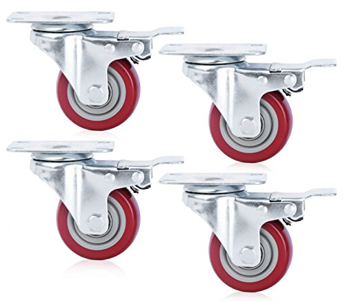Finnhomy Caster Wheels Set of 4 with Brake 4 Inch Plate Swivel Casters Premium Polyurethane Wheels PU Load Bearing 2,000 Lbs Lockable Anti-wear Smooth Casters Red