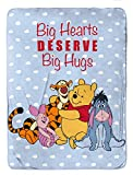 Disney Winnie The Pooh Big Hugs Sherpa Blanket - Measures 60 x 80 inches, Kids Bedding Features Piglet, Tigger, & Eeyore - Fade Resistant Super Soft (Official Disney Product)