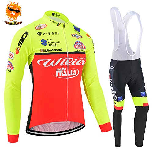 ADKE Completo Abbigliamento Ciclismo da Uomo, Invernale Maglie Ciclismo Maniche Lunga, Pantaloni Lunghi da Ciclismo Imbottiti (XL, ITA-chengse)
