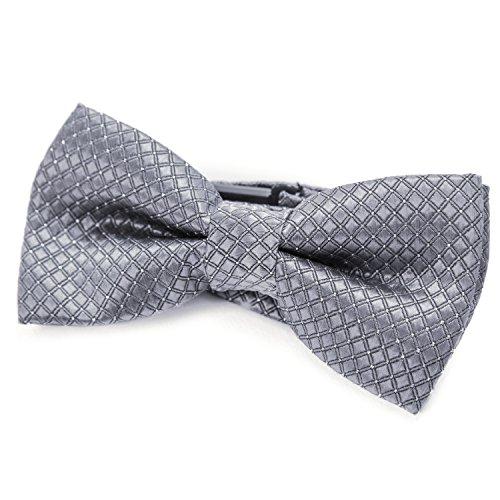 DonDon pajarita noble para niños chico - combinada y ajustable 9x 4,5 cm - de color plateado gris - brillada con argénteo puntos