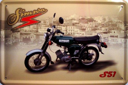 Simson S 51 grün Motorrad DDR Blechschild Schild Blech Metall Metal Tin Sign 20 x 30 cm