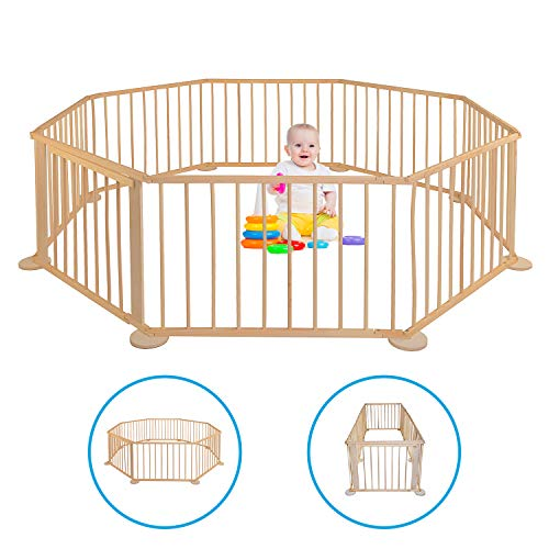 Baby Laufgitter - Gehschule für Garten - Aus Holz - Faltbar - Mobiler Laufstall - Kinderzaun XXL - Absperrgitter für drinnen - Klappbar - Eckig - Groß