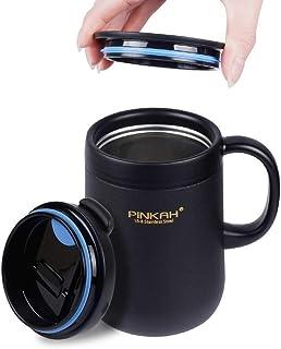 MX 保温マグカップ 二重構造 真空断熱マグ ステンレス マグカップ (ブラック 460ml)