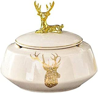 GAOTING Ashtray/can accommodate versatile, home decoration ashtray lid (Color : Beige, Size : 17 * 15cm)