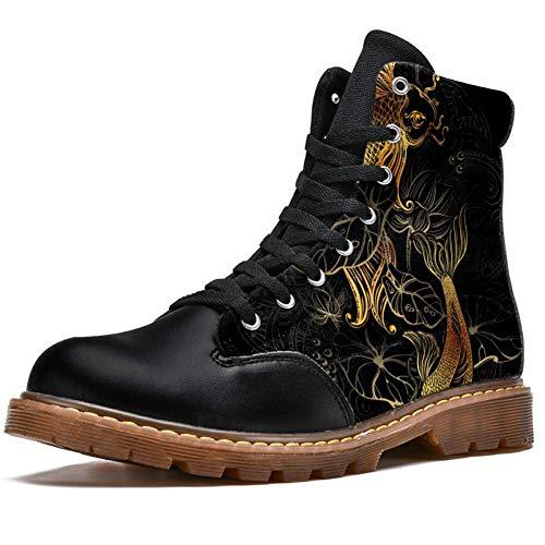 Tizorax oro Koi carpas y Lotus imprime alta parte superior con cordones clásicos lona botas de invierno zapatos de escuela para hombres adolescentes niños, color Multicolor, talla 42 2/3 EU