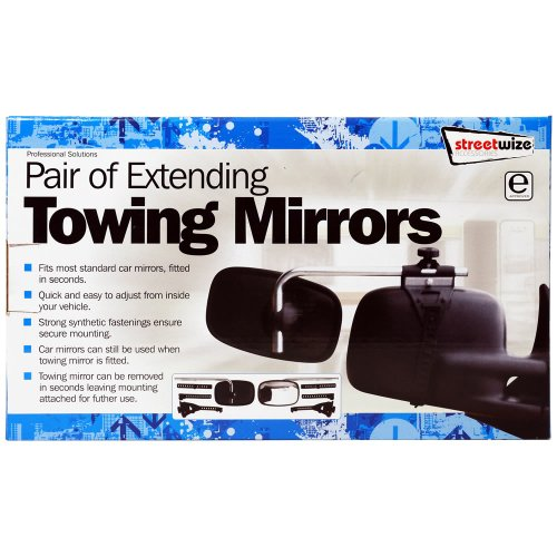 Streetwize SWTT84 Pair Extending Caravan/Towing Mirrors[E Approved] - Boxed