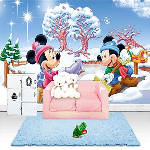 Papel Pintado Fotomurales Murales Papel pintado 3D de Mickey Minnie, papel tapiz fotográfico personalizado, Mural de pared de dibujos animados, arte de pared gigante, dormitorio de niñas, Hospital p