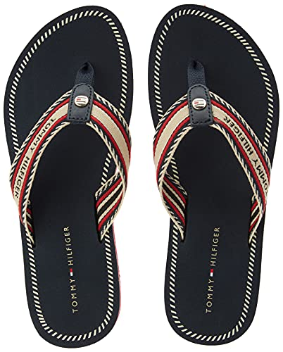 Tommy Hilfiger TH Artisanal Flat Beach Sandal, Sandalias Planas Mujer, Blue, 41 EU