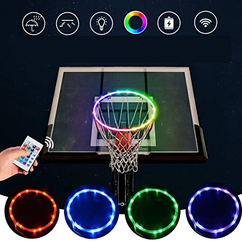 Wenosda LED Basketball Hoop Lights,Remote Control Basketball Rim Ring Light,Change 16 Colors, Waterproof String Lights,Bright to Play at Night Outdoors,Playing Training Games for Kids Adults