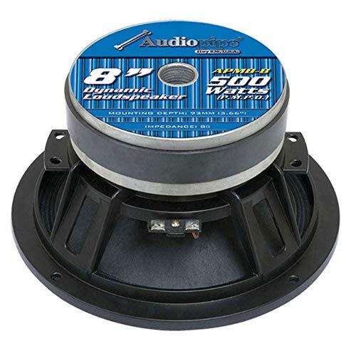 Audiopipe APMB8 8 Inch 2000 Watt Max Power 8 Ohm Low/Mid Bass Frequency Coaxial Midrange Car Audio Loudspeakers with Die Cast Aluminum Basket, 2 Pair