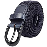 Mile High Life Cinturón elástico trenzado elástico con pasador ovalado Hebilla completa de cuero negro con hombre/mujer / extremo júnior (Azul marino, medio 81cm-86cm (101.5cm de longitud))