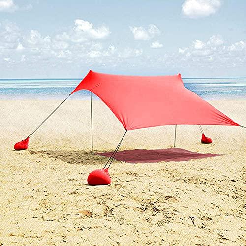 XCUGK Tienda de Playa Refugio para el Sol Anti UV con 4 Anclas de Arena 2 Postes de Aluminio Toldo para Playa para Tiempo en La Playa Camping o Picnic Familiar 2.1Mx2M