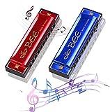 2 Stück Mundharmonika C-Dur Major Blues Harmonika,Diatonische Harmonika,Mundharmonika für Kinder,10 Löcher mundharmonika Diatonisch,für Anfänger/Profis mit Etui (Rot/Blau)