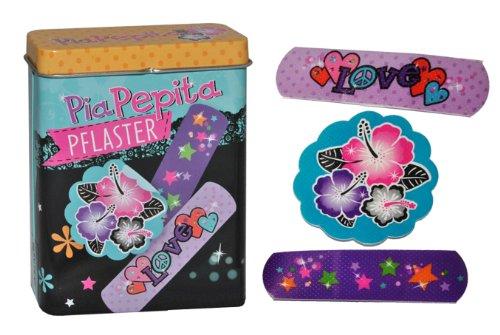 alles-meine.de GmbH 20 Pflaster mit Blumen Motiv in Metall Box - Pflasterbox Blume geblümt Dose bunt Kinderpflaster Herzen