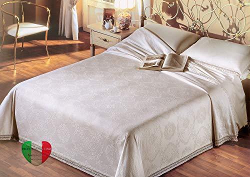 SpazioTessile Coperta Copriletto Broccato 100% Cotone 6 Colori 260 Gr mq Singolo, Piazza e Mezza, Matrimoniale (Panna, Singolo 180x250)