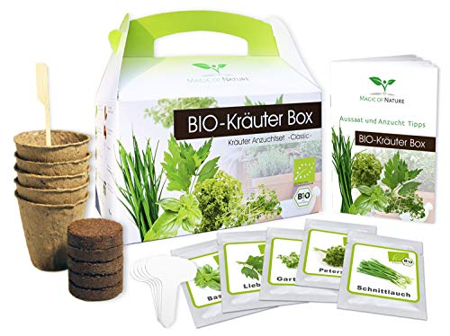 Magic of Nature BIO Kräuter Box CLASSIC - Anzuchtset - 5 Sorten BIO Samen - Perfektes Geschenk - Zum Selberzüchten oder zum Verschenken - Kinderleichte Handhabung
